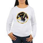 Night Flight/Pug (black) Women's Long Sleeve T-Shi