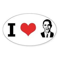 I Love Obama Oval Decal