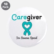 """Caregiver Teal Ribbon 3.5"""" Button (10 pack)"""