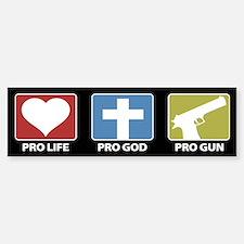 Pro Life Pro God Pro Gun Bumper Car Car Sticker