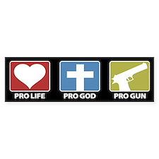 Pro Life Pro God Pro Gun Bumper Car Sticker