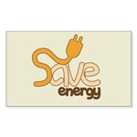 Save Energy Rectangle Sticker 10 pk)