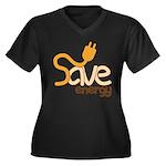 Save Energy Plus Size V-Neck T-Shirt (Dark)