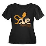 Save Energy Plus T-Shirt (Dark Scoop Neck)