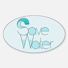 Save Water Oval Bumper Decal