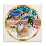 XmasMagic/2 Pomeranians Tile Coaster