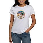 XmasMagic/2 Pomeranians Women's T-Shirt