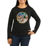 XmasMagic/2 Pomeranians Women's Long Sleeve Dark T