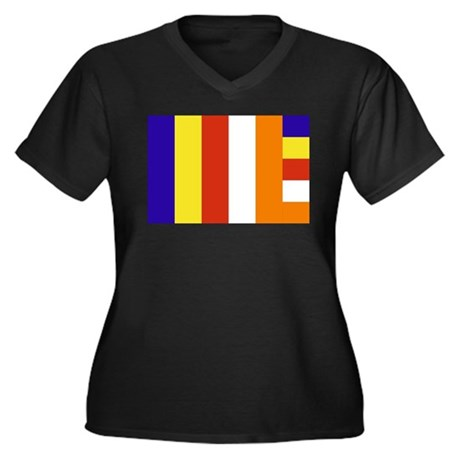 Buddhist Flag Women's Plus Size V-Neck Dark T-Shir