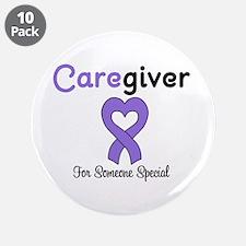 "Caregiver Purple Ribbon 3.5"" Button (10 pack)"