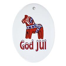 Red Dala God JUl Oval Ornament
