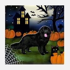 Newfoundland Dog Halloween Night Tile Coaster