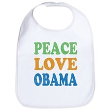 Vintage Love Peace Obama Bib