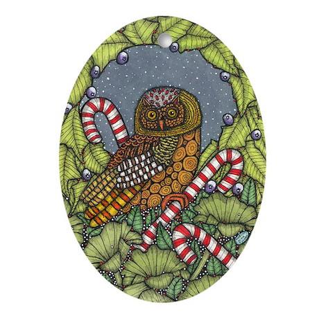 Christmas Owl Oval Ornament