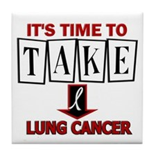 Take Down Lung Cancer 3 Tile Coaster