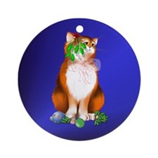 Orange Chirstmas Kitten Ornament (Round)