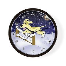Christmas Dog Agility Wall Clock