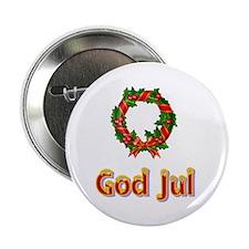 "God Jul Wreath 2.25"" Button"