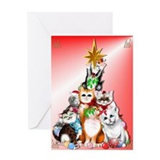 Christmas Tree Kittens Greeting Card