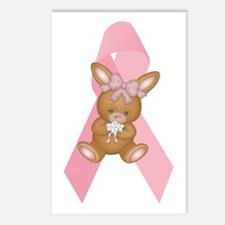 Breast Cancer Ribbon & Bunny Postcards (Package of