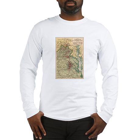 Virginia Civil War Map Long Sleeve T-Shirt