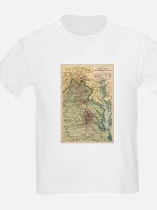 Virginia Civil War Map T-Shirt