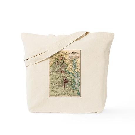 Virginia Civil War Map Tote Bag
