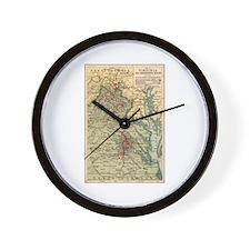 Virginia Civil War Map Wall Clock