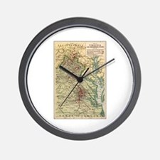 Virginia Civil War Map Wall Clock