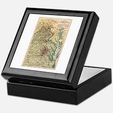 Virginia Civil War Map Keepsake Box