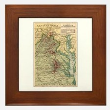 Virginia Civil War Map Framed Tile