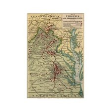 Virginia Civil War Map Rectangle Magnet