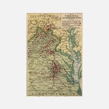 Virginia Civil War Map Rectangle Magnet