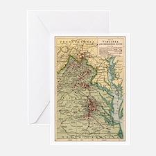 Virginia Civil War Map Greeting Cards (Pk of 10)