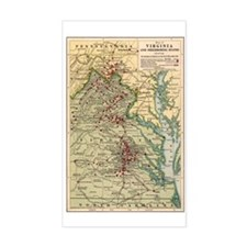 Virginia Civil War Map Rectangle Decal