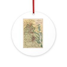 Virginia Civil War Map Ornament (Round)