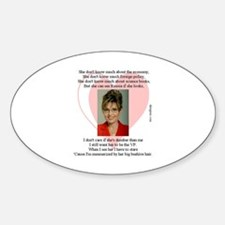 Why I Love Sarah Palin Oval Decal