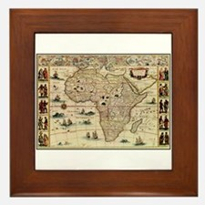 Ancient Africa Map Framed Tile