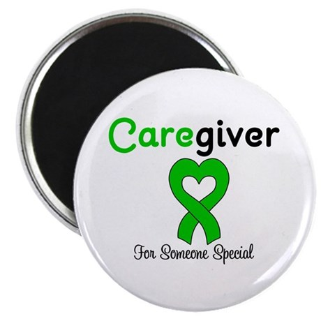 "Caregiver Green Ribbon 2.25"" Magnet (10 pack)"