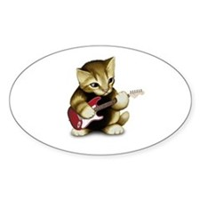 Cat Playing Guitar Oval Decal