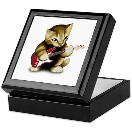 Cat Playing Guitar Keepsake Box