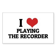 I Love Playing the Recorder Rectangle Decal