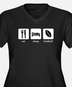 Football Women's Plus Size V-Neck Dark T-Shirt
