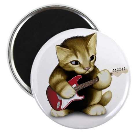 "Cat Playing Guitar 2.25"" Magnet (10 pack)"