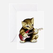 Cat Playing Guitar Greeting Cards (Pk of 20)
