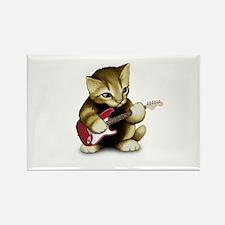 Cat Playing Guitar Rectangle Magnet