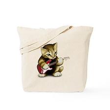 Cat Playing Guitar Tote Bag