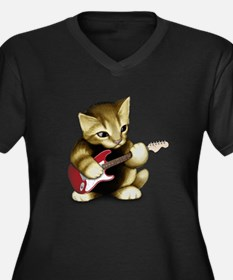 Cat Playing Guitar Women's Plus Size V-Neck Dark T