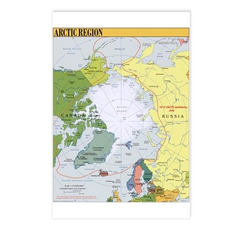Arctic Polar Map Postcards (Package of 8)