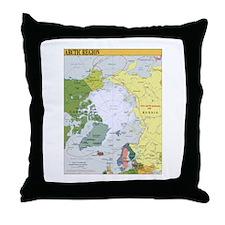 Arctic Polar Map Throw Pillow